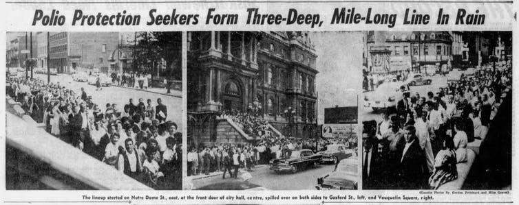 Trois photos de journaux montrant des personnes faisant la file