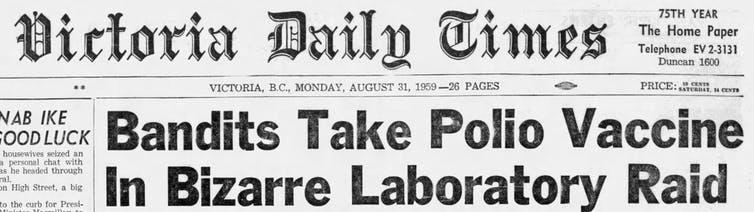 En première page du journal, des bandits prennent le vaccin contre la polio lors d'un raid au laboratoire de Bizare