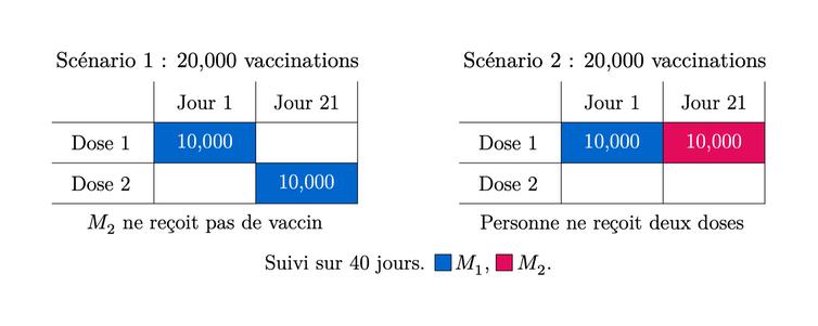 Diagramme illustrant deux scénarios d'infection